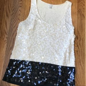 J Crew sequined tank - cream/black -S